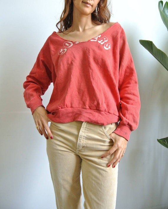 Vintage 1960-70s faded red worn out sweatshirt