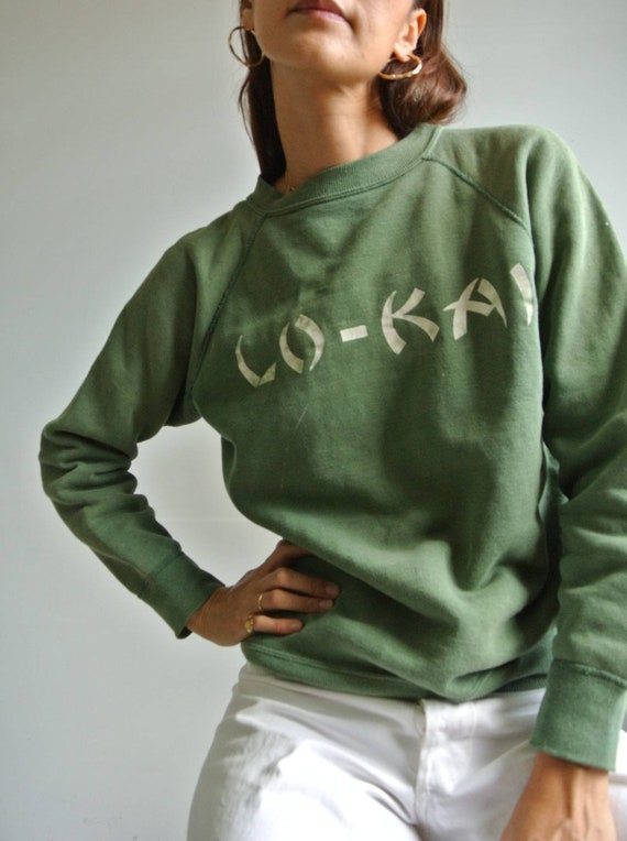 Vintage 1960s faded green Lo-Kai sweatshirt with e