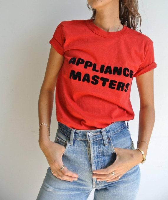 Vintage 1980s APPLIANCE MASTER flock print logo re