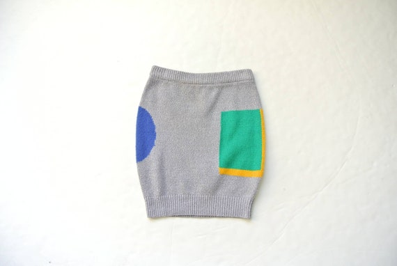 Vintage 1980s gray knit mini skirt