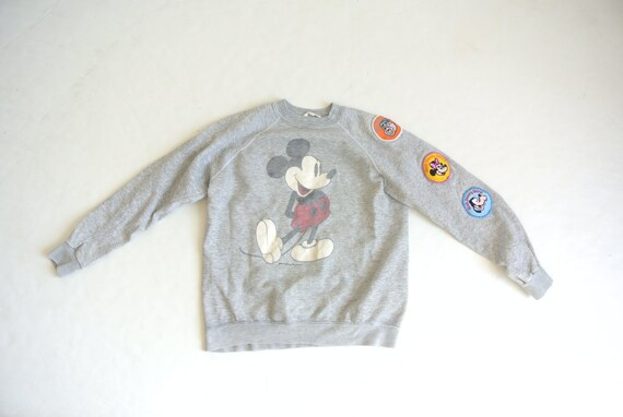 Vintage 1970s Mickey gray sweatshirt with patches