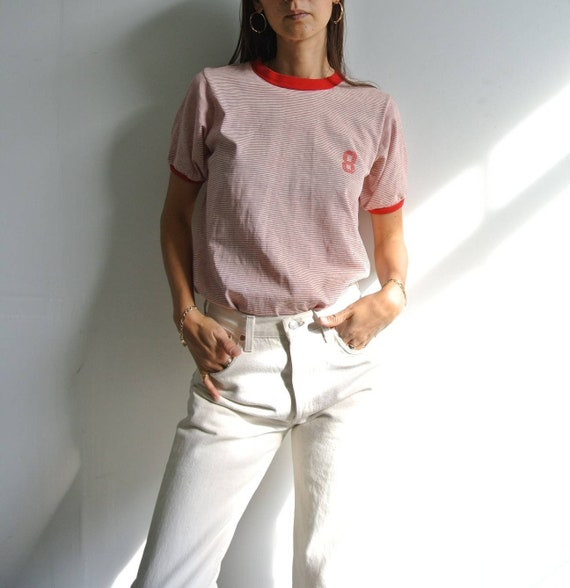 Vintage 1970s red x white stripe numbered t-shirt