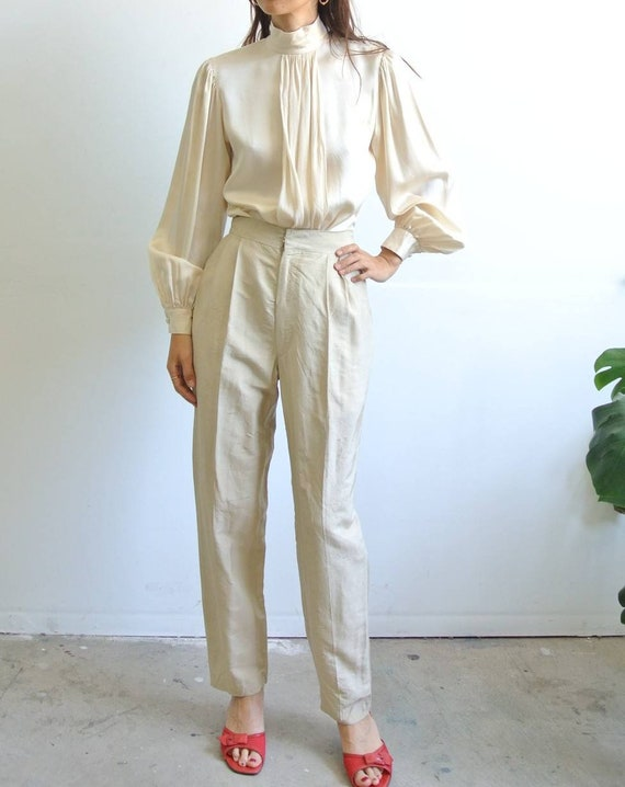 Vintage 1980s raw silk high waisted pleated beige