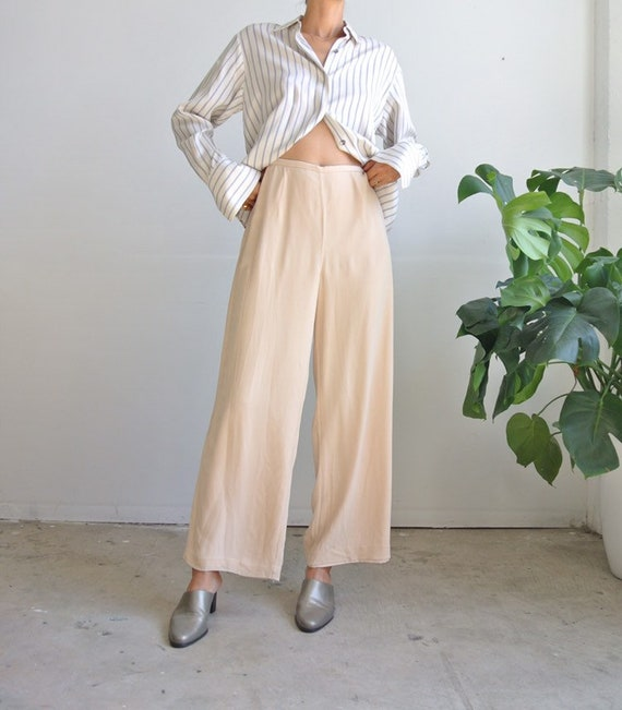 Vintage 1990s silk chiffon nude beige pants