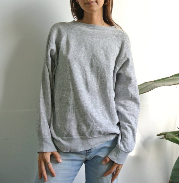Vintage 1970s-80s thin gray solid sweatshirt