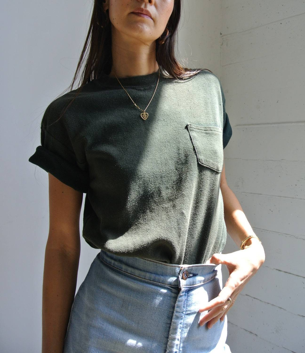 1970s Mens Shirt Styles – Vintage 70s Shirts for Guys Vintage 1970S 100 Cotton Faded Black Pocket T-Shirt $0.00 AT vintagedancer.com
