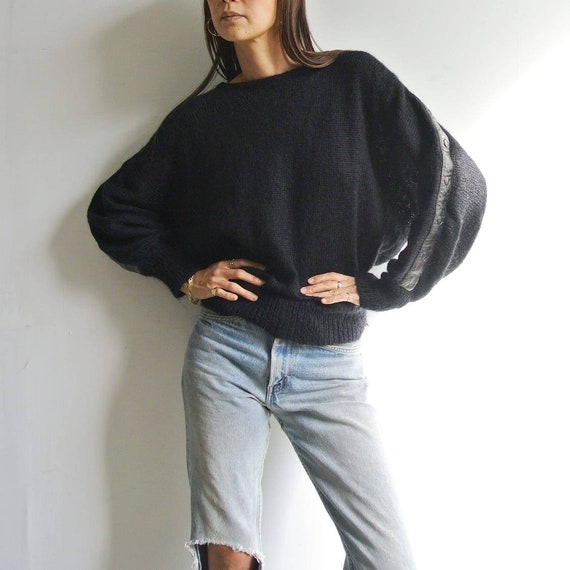 Vintage 1980s dolman sleeve with leather trim blac