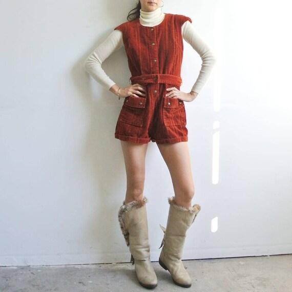 Vintage 1970s burnt orange velour shorts romper ju