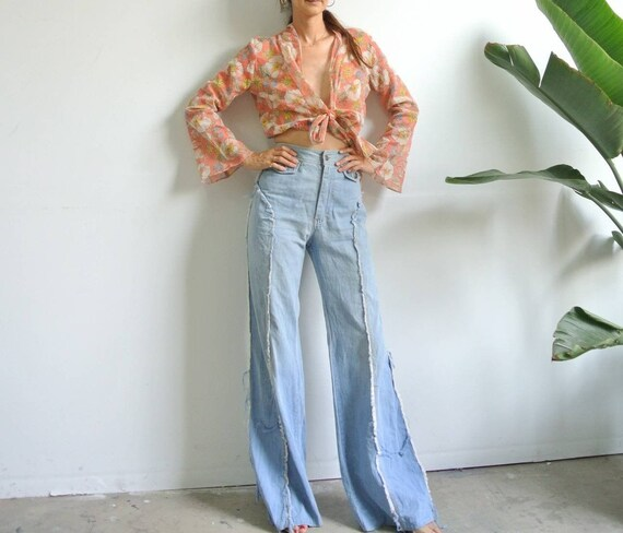 Vintage 1970s light blue soft denim jeans W26""