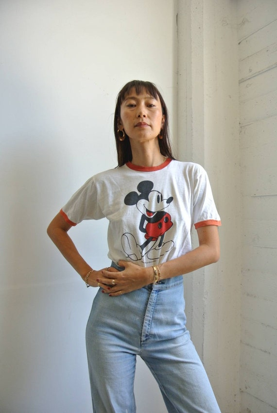 Vintage 1970s Mickey mouse  ringer neck  T-shirt