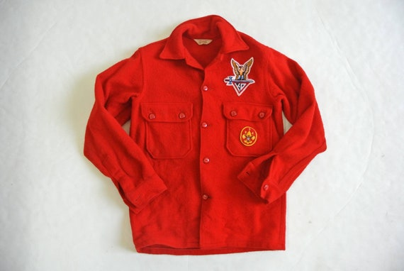 Vintage 1970s boy scout of america red wool shirt