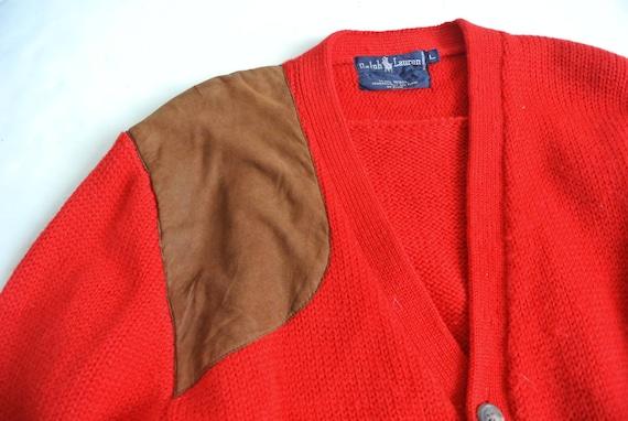 Vintage 1980s Ralph Lauren red wool cardigan - image 4