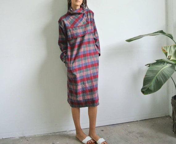 Vintage 1980s India plaid cotton midi dress