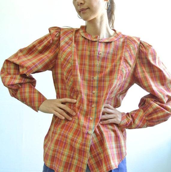 Vintage 1980s plaid puff sleeve blouse