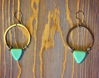 READY TO SHIP - Triangle Hoop Earrings