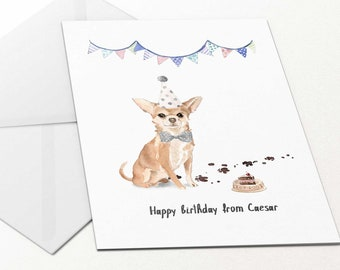 Personalised Happy Birthday Card Chihuahua For Dog Mum Dad Golden Owner Lover