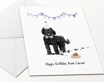 Happy Birthday From Dog Black Labradoodle Card Pet Dad For Owner Personalised Mum