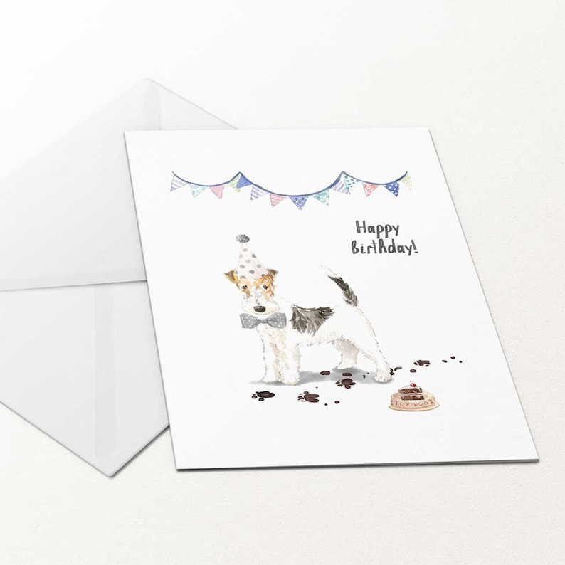 Happy Birthday Card Fox Terrier Dog Gift For Her