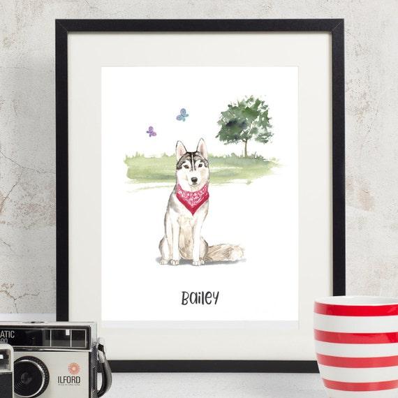 Custom Pet Portrait Husky Birthday Gift For Dad Dog Lover