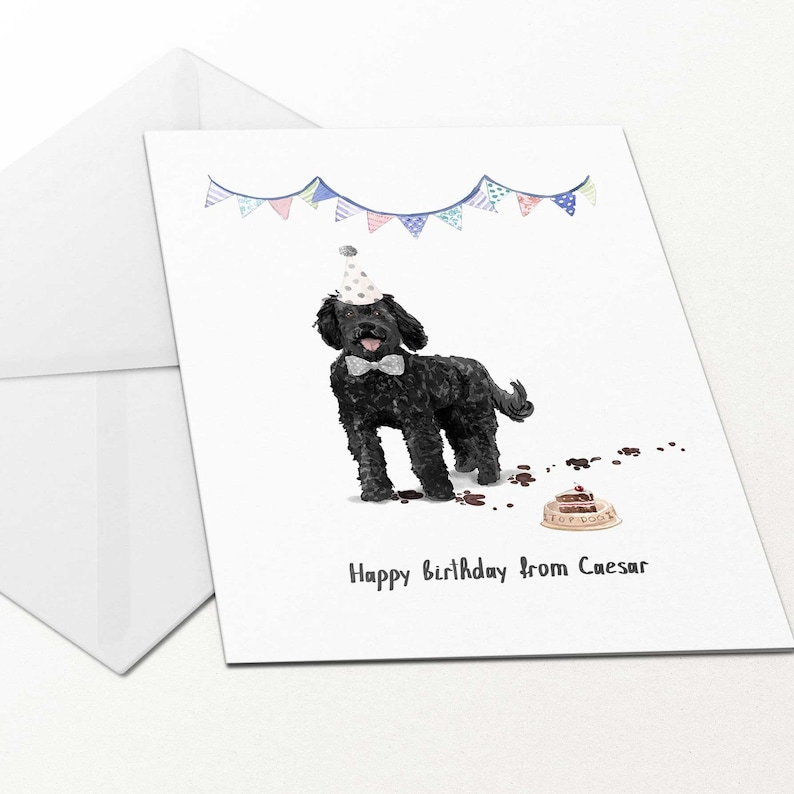 Happy Birthday From Dog Black Labradoodle Card