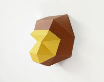 Watercolour Drawing Brown Origami Monkey Emblem Stock Illustration  1485403379 | 270x340