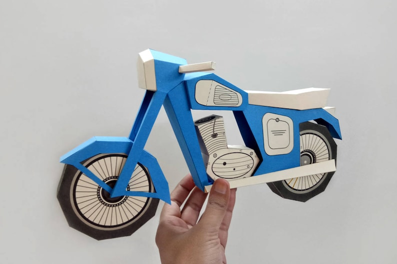 Diy Vintage Motorbikepapercraft3d Papercraftdiy Paper Etsy