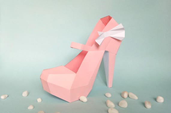 DIY Paper Model High Heel Shoe 3d Papercraft Instant