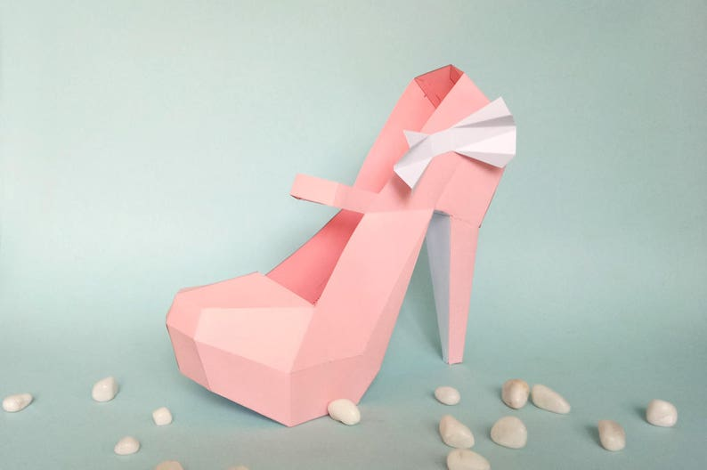 picture relating to High Heel Shoe Template Printable referred to as Do-it-yourself paper style, Large Heel Shoe, 3d Papercraft, Quick electronic obtain, Printable A4 sizing template data files,Stomach sneakers,Nude pumps,3d shoe
