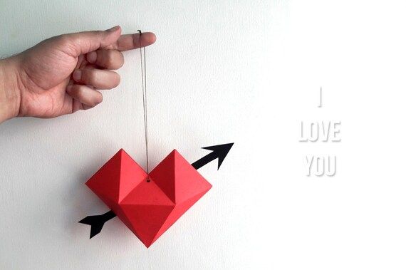 Diy Heart Danglervalentine S Dayheart With Arrowpaper Etsy