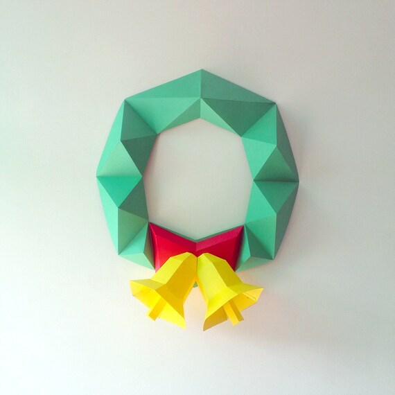 Diy Paper Christmas Garland Christmas Wreath Paper Wreath Decor Wall Decor Wall Hanging Christmas Bells Jingle Bells Papercrafts Paper Toys