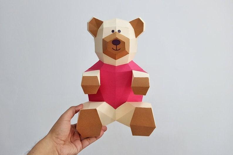 Diy Teddy Bear Papercraft Teddy Bear Paper Bear Printables Paper Toys Baby Shower Decoration Nursery Decor Teddy Svg Bear Svg Cutting Files