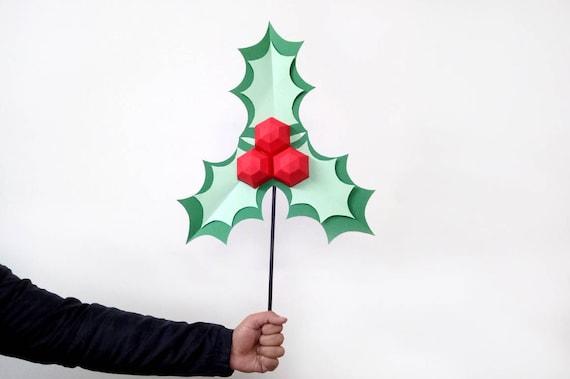 Diy Christmas Holly Leaves Stickchristmas Decorationsholly Etsy