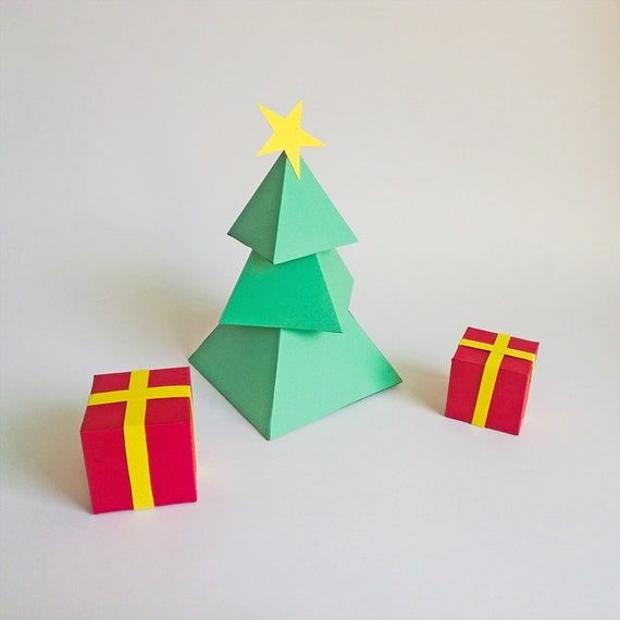 3d Paper Christmas Tree.Diy Paper Christmas Tree With Gift Boxes Christmas Decorations Paper Christmas Tree 3d Christmas Tree Origami 3d Paper Model Printables