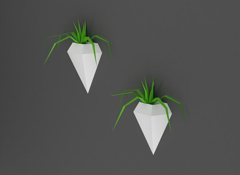 3d plants DIY Wall Mount Diamond Planter,Wall decoration,Planters,paper plants,papercrafts,hanging plants,Mothers day printable plants
