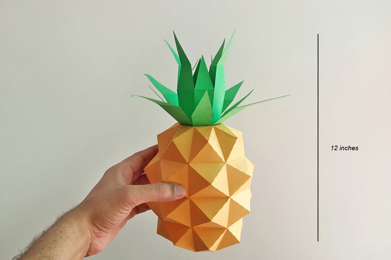 DIY Papercraft Pineapple,Papercraft fruit,Paper toy,Party decoration,Nursery decor,PDF templates,cricut files,Lowpoly papercraft,Cameo files