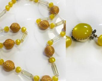 Retro Canary Yellow Necklace 1950's