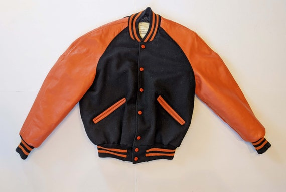 Vintage Delong Black Orange Letterman Varsity Jack
