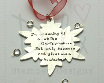 Personalised Christmas decoration, Snowflake, wine lover, red wine, white wine
