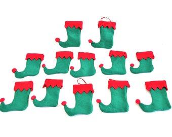 Set of 12 Tiny Christmas Stockings
