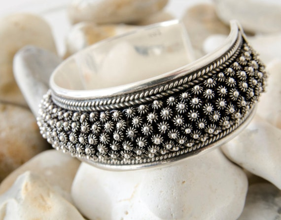 f2ca0168b81b7 Heavy Silver Bangle, Sterling Silver Cuff Bracelet, Chunky Silver Bangle,  Statement Bracelet, Ethnic Bracelet, Womens Gift, Gift For Her