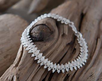 Sterling Silver Bracelet, Flower Bracelet, Best Friend Bracelet, Wedding Bracelet, Bridesmaid Bracelet, Bridal Bracelet, Gift For Her, 925