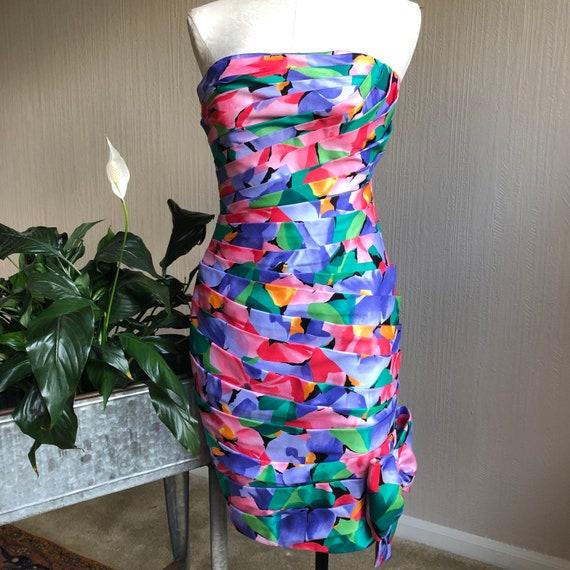 80s Strapless Dress by AJ Bari. 1980s Party Dress.