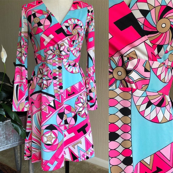 60s Psychedelic Print Mod Dress by Eduardo. Pucci-