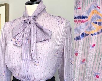 1980s Sheer Bowtie Blouse. M/L. 80s Lavender Sheer Pussy Bow Tie Front Blouse. 1980s Pussy Bow Blouse. Tie Front Blouse. Ascot, Coachella
