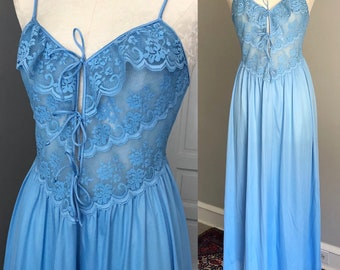 1980s Lace Tie-Front Nightgown. Small. 80s Blue Long Nylon Nightgown. Pinup. Burlesque. Lace Ruffle. Plunging Neckline.