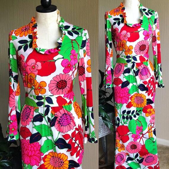 1960s Floral Maxi Dress. Medium. 60s Mad Men Dress