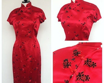 1960s Cheongsam Dress. Size Small. 60s Fitted Red Asian-Style Wiggle Dress. Silk Asian Dress. 1960s Cocktail Dress. Very Mad Men!