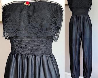 1980s Black Lace Jumpsuit. Small. 80s Lace Lounge Set. 80s Lace Jumpsuit. 80s Lace Lingerie. 80s Party. 80s Jumpsuit.