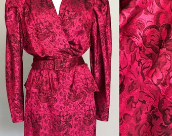 1980s Peplum Jacket and Skirt Suit. 80s Peplum Set, Dynasty. Medium. 80s Party. 80s Pink Belted Jacket, Shoulder Pads, Pencil Skirt.
