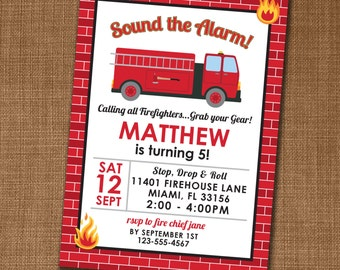 Firefighter Invitation - Firefighter Invite - Firetruck Birthday - Edit yourself at home!
